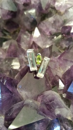 Peridot two bar ring