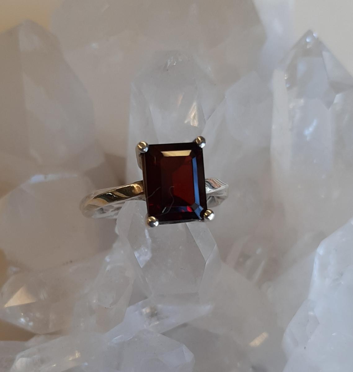 Garnet Ring Heart of the Bay Crystals Byron Bay
