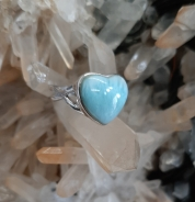 Heart shaped Larimar crystal ring - Heart of the Bay Byron Bay Crystals and Jewellery